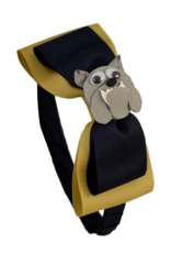"Ashley's 1/2"" Double Bow Navy Headband With Mascot"