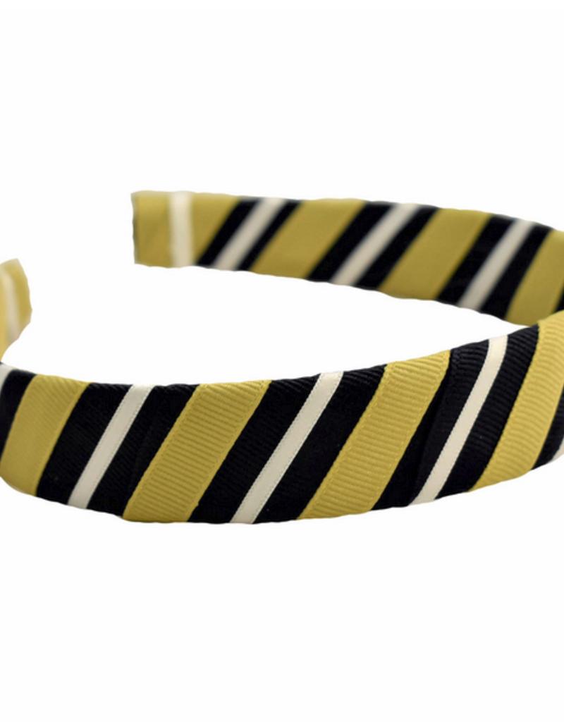 """1"""" Navy Gold Ribbon Wrapped Headband"""