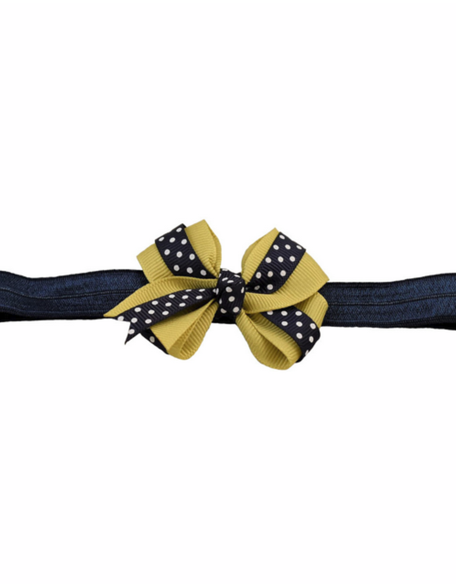 Polka Dot And Gold Bow Stretch Headband