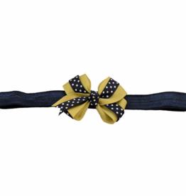 Polka Dot And Gold Bow Stretch Headband