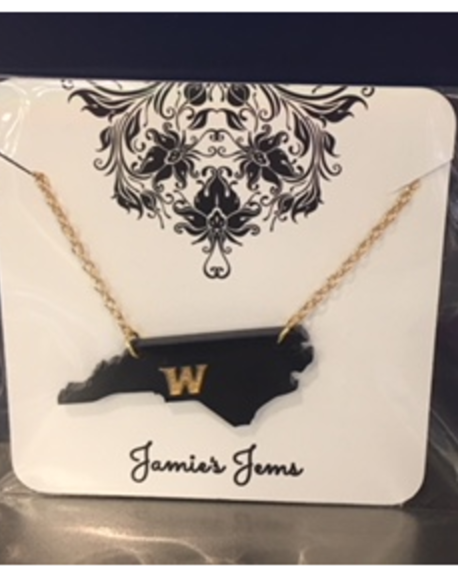 Navy Acrylic State of NC Necklace