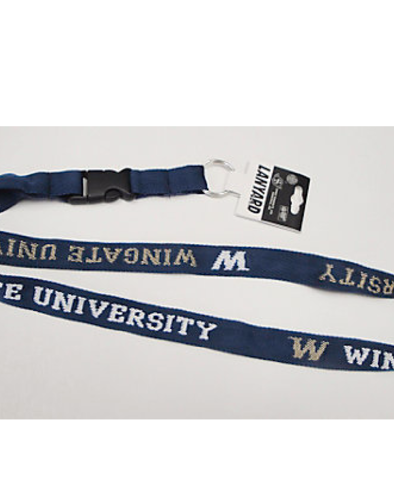 Berkeley Woven Lanyard with Vegas Gold and White Wingate University W