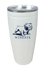 30oz White Standing Bulldog Stainless Tumbler Open Close Lid