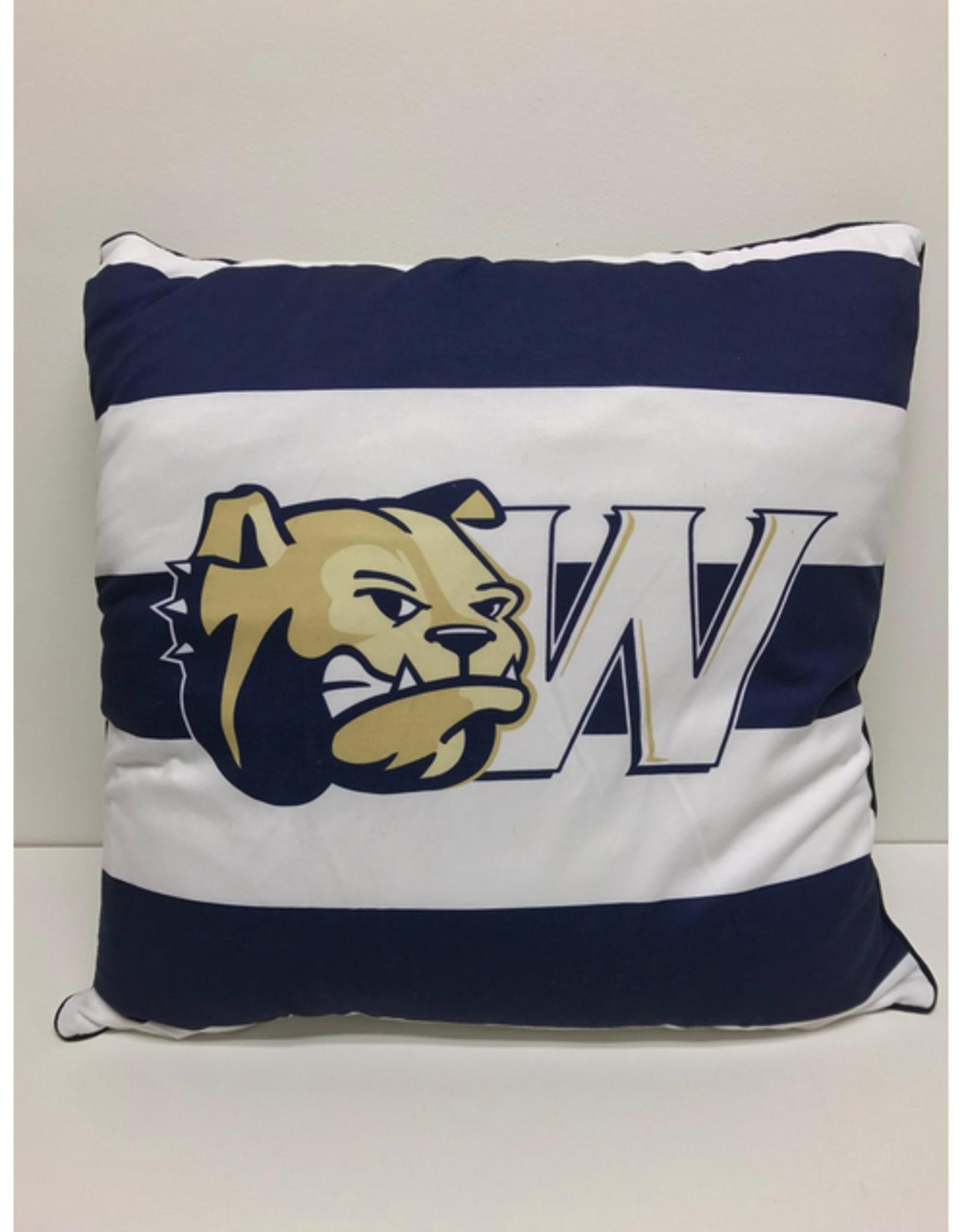 League Spirit Pillow 22 x 22 Navy White Stripe Dog Head W