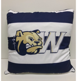 League Spirit Pillow 22 x 22 Navy White Stripe Dog Head W