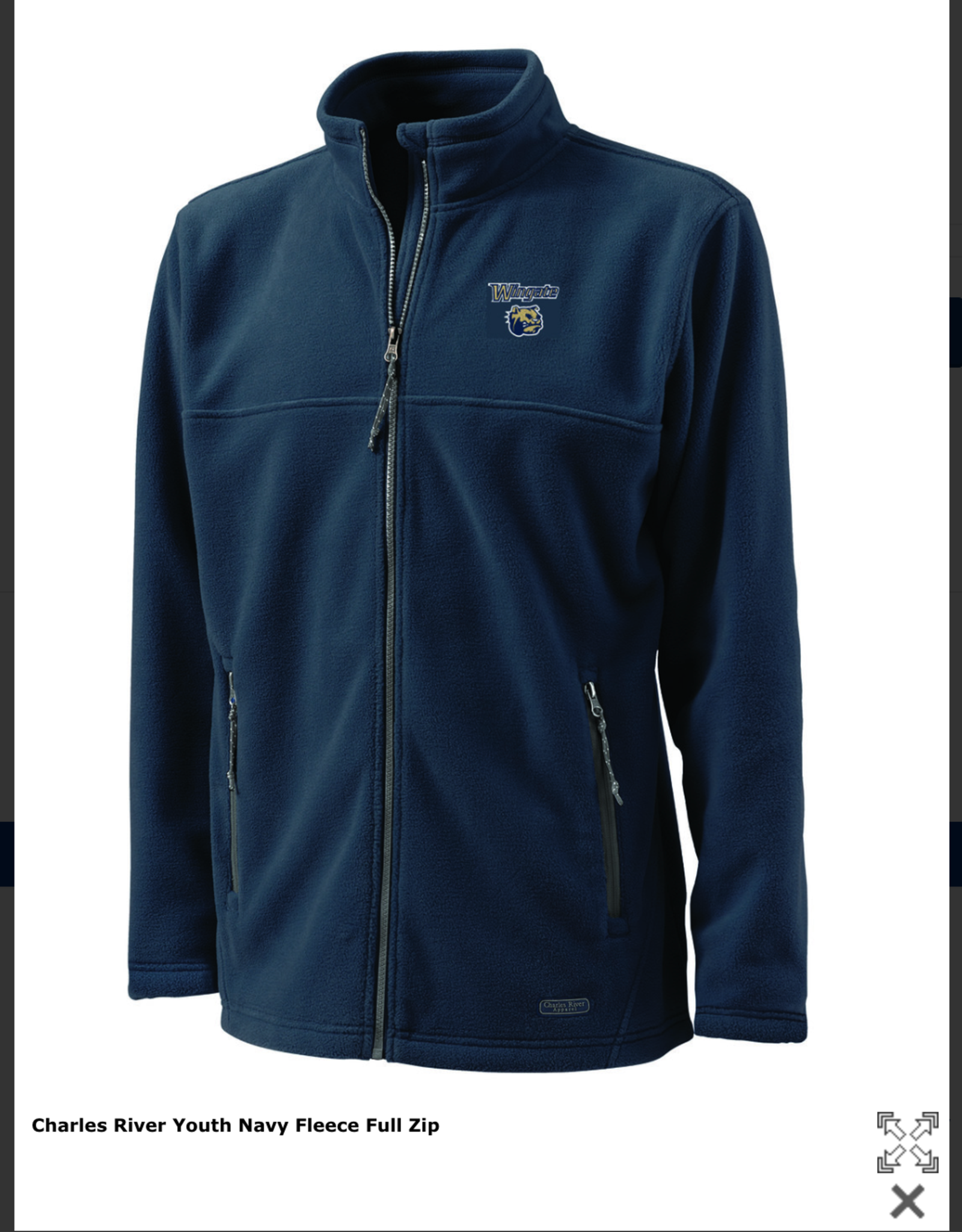 Charles River Youth Navy Fleece Full Zip