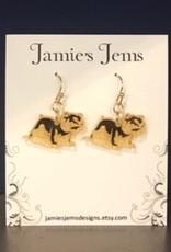 Gold Acrylic Full Bulldog Drop Earrings