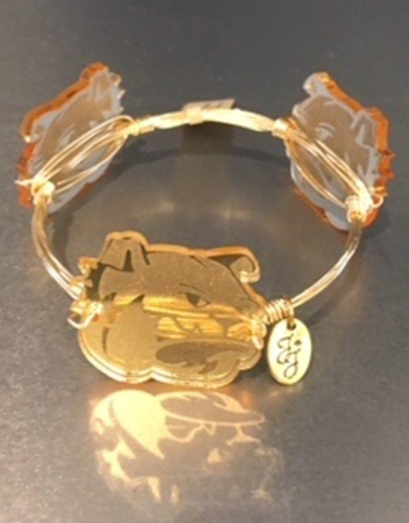 Gold Acrylic 3 Bulldog Head Wire Wrap Bracelet