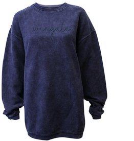 Navy Corded Crew Sweatshirt