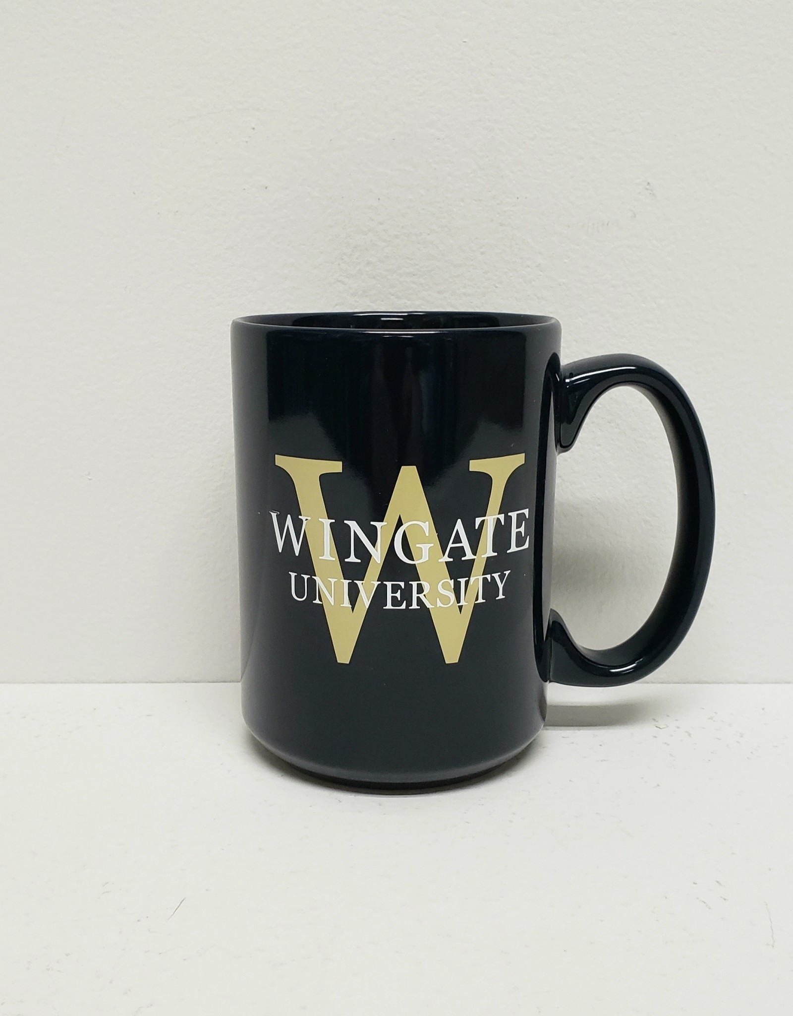 16oz El Grande mug Navy with Gold and White Wingate University and W