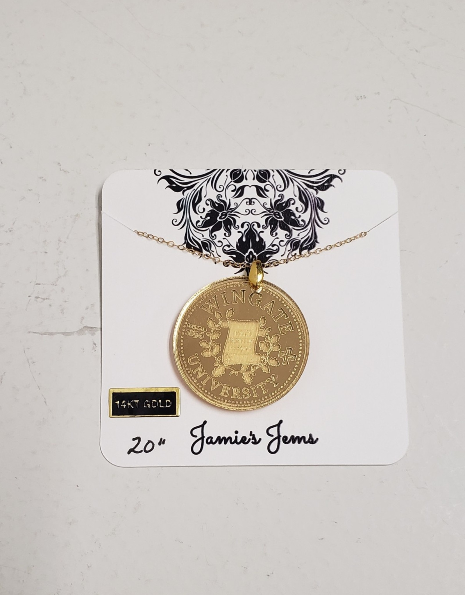 Gold Acrylic School Seal Necklace