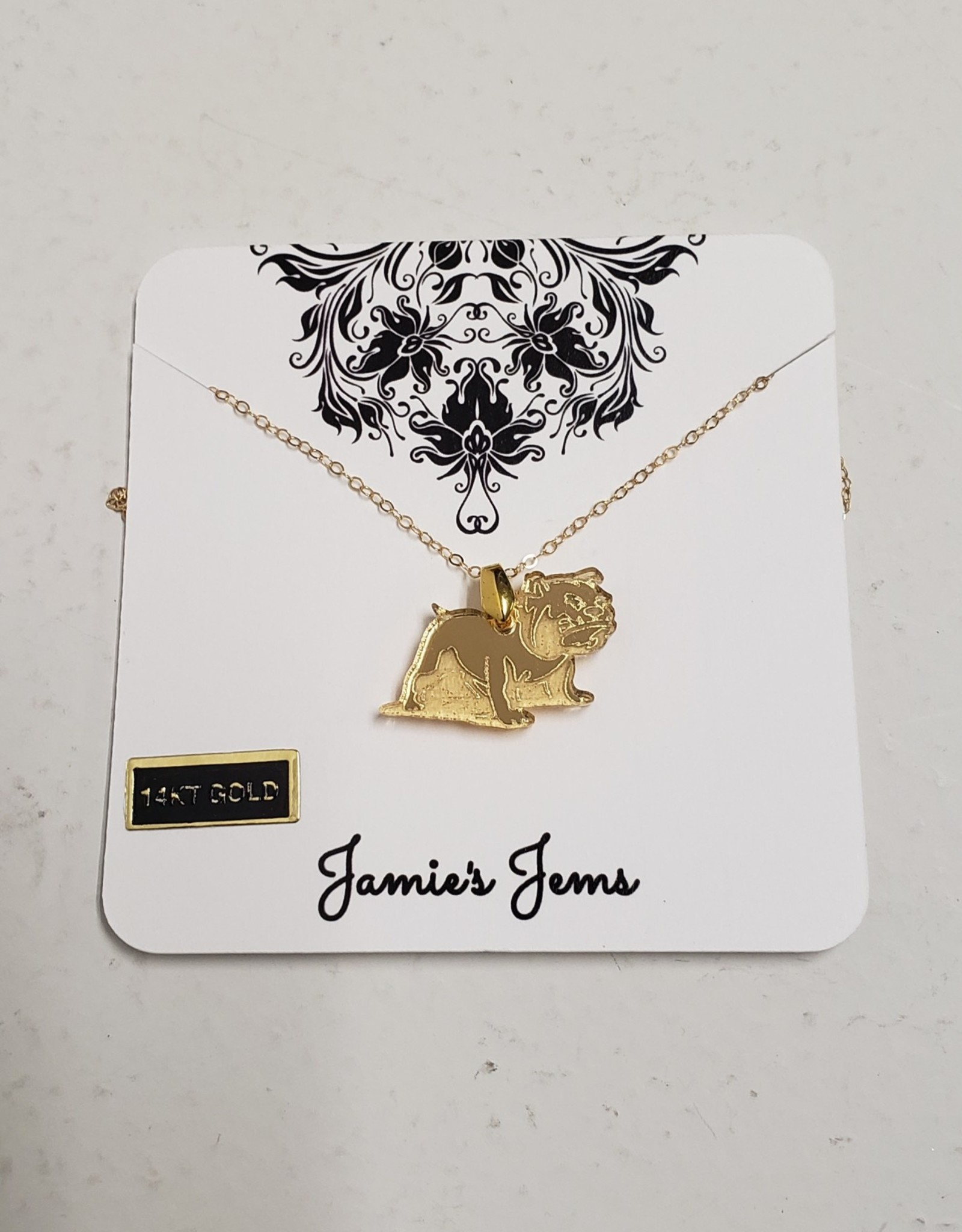Gold Acrylic Full Bulldog Necklace