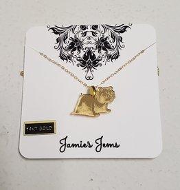 Gold Acrylic Full Bulldog Necklace