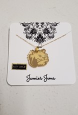 Gold Acrylic Bulldog Head Necklace