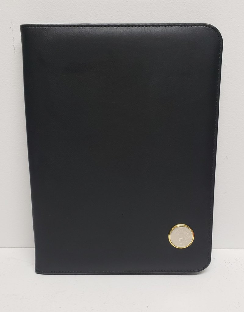 Black Zipper Padfolio Gold Seal