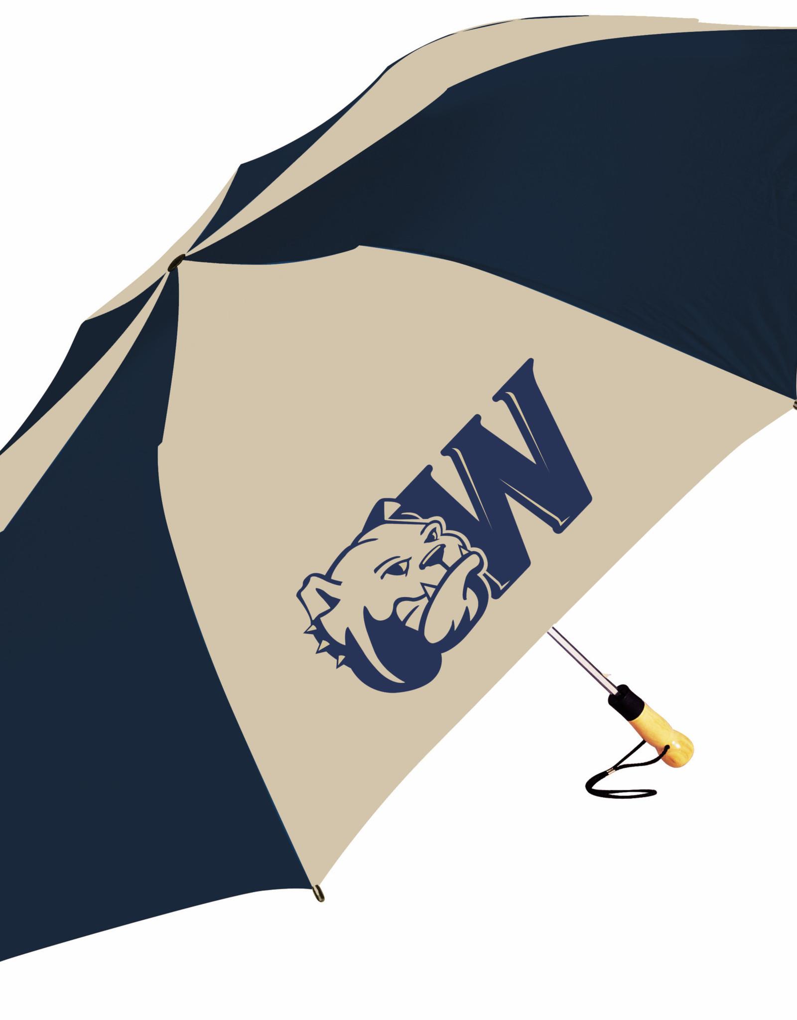 "58"" Oversized Navy Gold Dog Head W Umbrella"