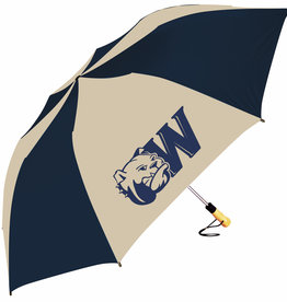 "PICK UP ONLY 58"" Oversized Navy Gold Dog Head W Umbrella"