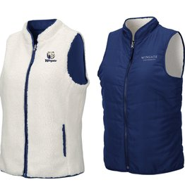 Womens Navy Reversible Sherpa Vest