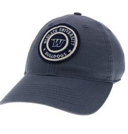 Slate Blue Unstructured Adjustable Circle Felt Patch Hat
