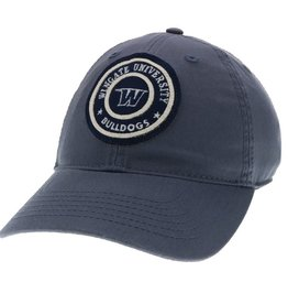 Slate Blue Unstructured Adjustible Circle Felt Patch Hat