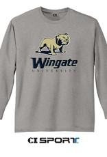 DISTRICT Grey Triblend Full Dog Over Wingate University LS