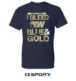 Gildan Navy Bleed Blue and Gold SS Tee