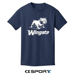 Port & Company White Full Dog Over Wingate Navy SS Tee