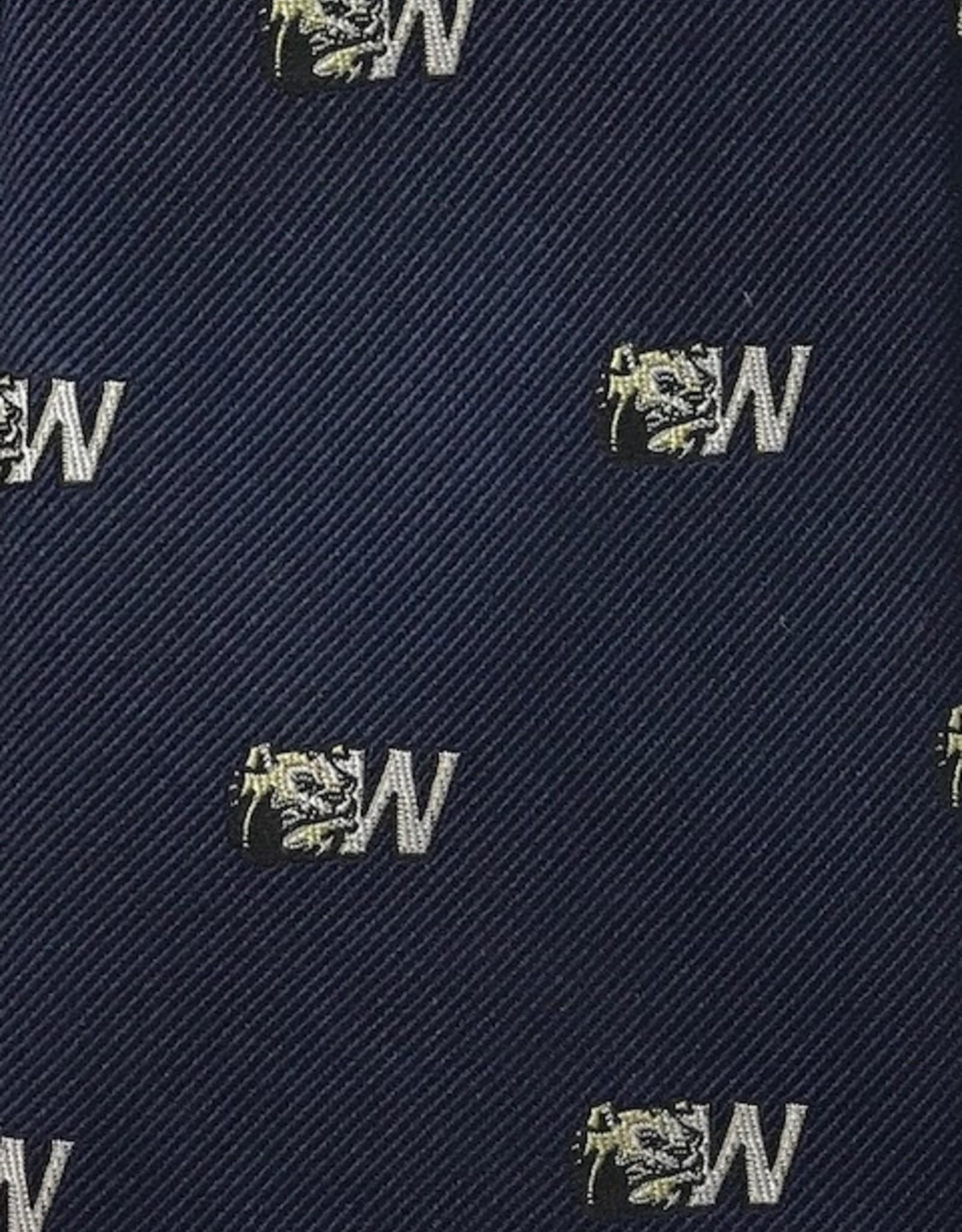 Navy Silk Dog Head W Tie