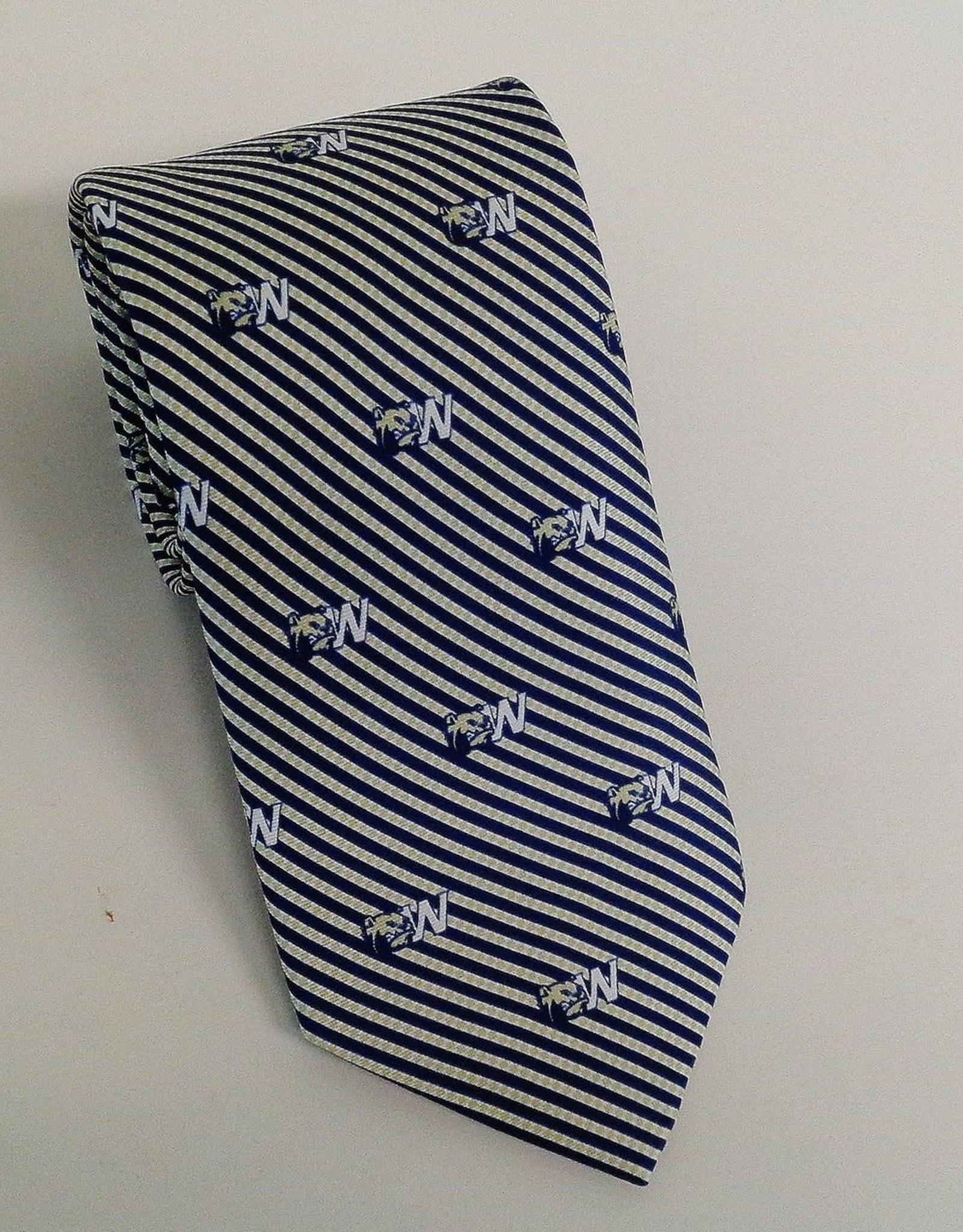 Navy Gold Stripe Silk Dog Head W Tie