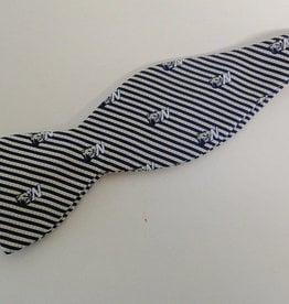 Bow Tie Navy Gold Stripe Silk Dog Head W