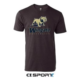 Tultex Graphite Full Dog Text Wingate University SS Tee