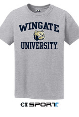 Gildan Grey Wingate University Bulldog Head SS Tee
