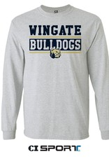 Tosh Ash Grey Wingate Bulldogs Dog Head LS Tee