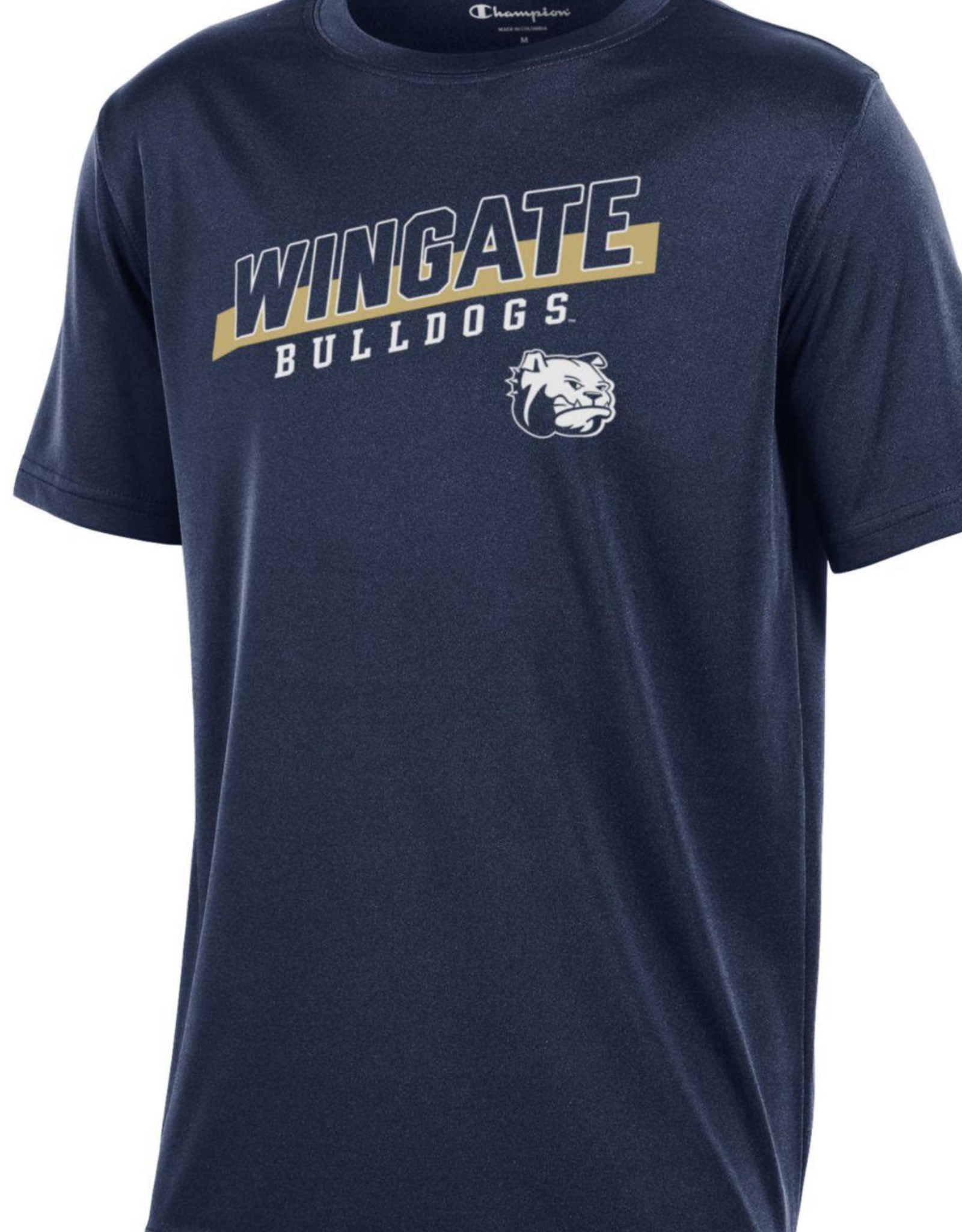 Champion Youth Navy Athletic Drifit SS Wingate Bulldogs Dog Head Tee