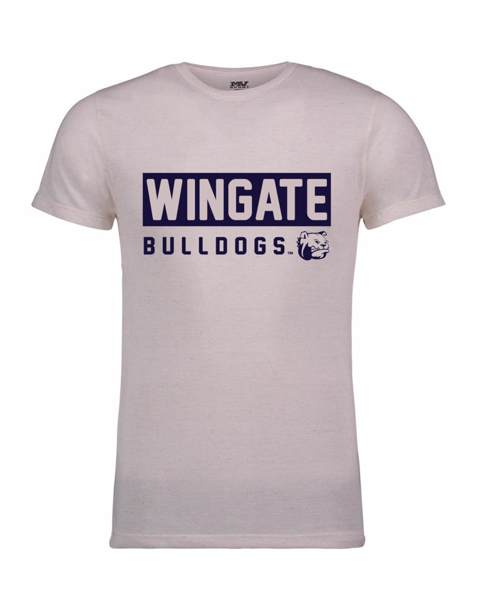 MV Sport Oatmeal Arlo Fleck Wingate Bulldogs Dog Head SS Tee