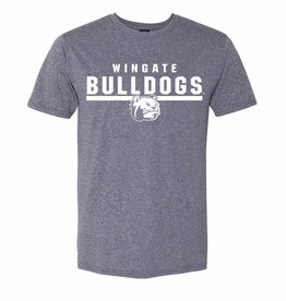 MV Sport Navy Heather Athletic Wingate Bulldogs Underlined Dog Head SS Tee