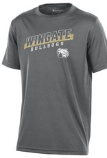 Champion Youth Grey Athletic Drifit SS Wingate Bulldogs Dog Head Tee