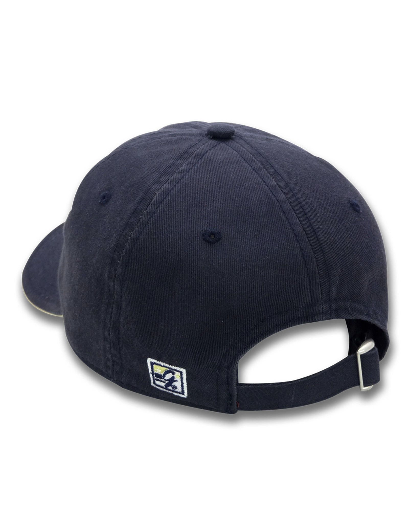 The Game Navy Hat with white W and standing bulldog