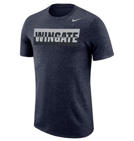 Nike Unisex Navy Heather Marled Sliver Wingate Cotton Poly Tonal Athletic Cut SS