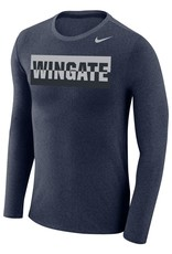 Nike Unisex Navy Heather Marled Sliver Wingate Cotton Poly Tonal Athletic Cut LS