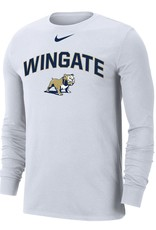 Nike White Wingate Standing Dog Drifit Cotton LS Tee