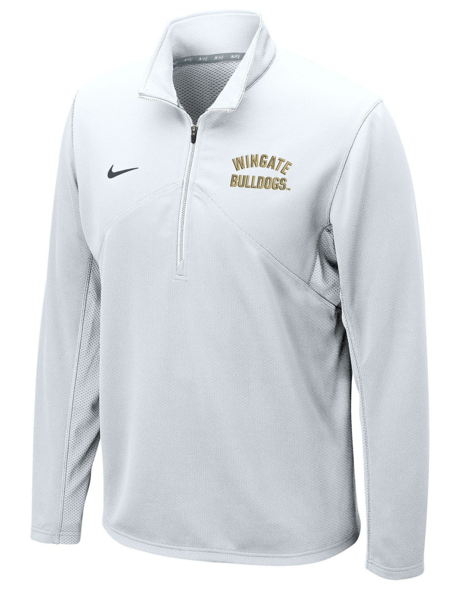 Nike White Wingate Bulldogs Embroidered Drifit Training 1/4 Zip