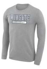 Nike Unisex Dark Heather Wingate Bulldogs Drifit Cotton Legend LS Tee