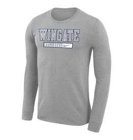 Nike Unisex Dark Heather Wingate Bulldogs Drifit Cotton Legend LS Tee