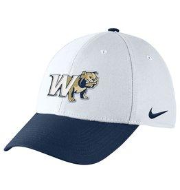 Nike Colorblock White Navy W Half Dog Swoosh Flex Fit Structured Hat