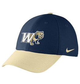 Nike Colorblock Navy Vegas Gold W Half Dog Swoosh Flex Fit Structured Hat