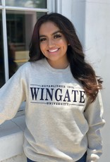 Oatmeal Harvard Crewneck Est 1896 Wingate University Embroidered