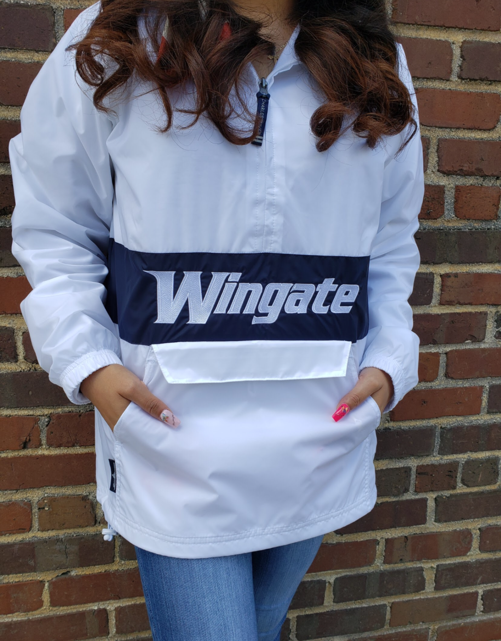 Charles River White Navy Classic Lined Pullover