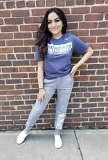 Nike Unisex Navy Heather Marled Sliver Wingate Cotton Poly Tonal Athletic Cut SS