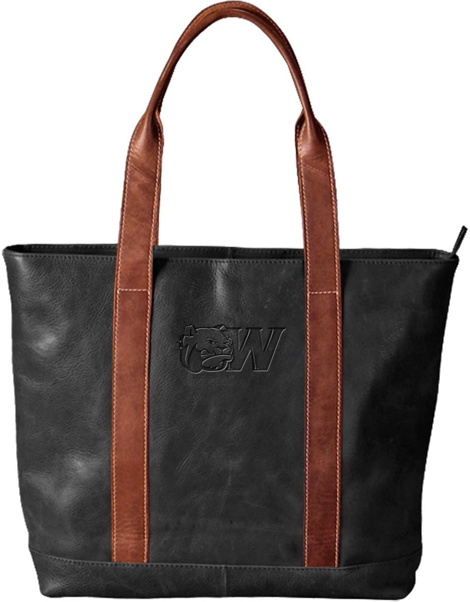 Carolina Sewn Westbridge Two-Tone Black and Tan Tote Dog Head W (ONLINE ONLY)